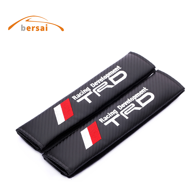 BERSAI Carbon fiber seat belt cover shoulder pad JDM Car styling for TRD for Nissan GTR Teana LIVINA X-TRAIL QASHQAI accessories ceyes car styling auto seat belt cover case for nissan nismo livina qashqai x trail juke shoulders pads car styling accessories