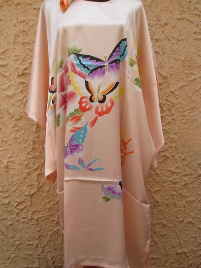 Pink Pintura de Las Mujeres Chinas de Seda Bata Camisón Yukata Flower One Size Envío Gratis S4011