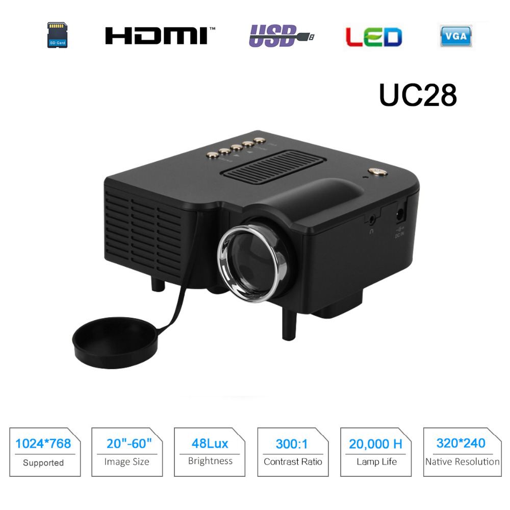 Excelvan uc28 mini pico projector home cinema theater for Laptop pico projector