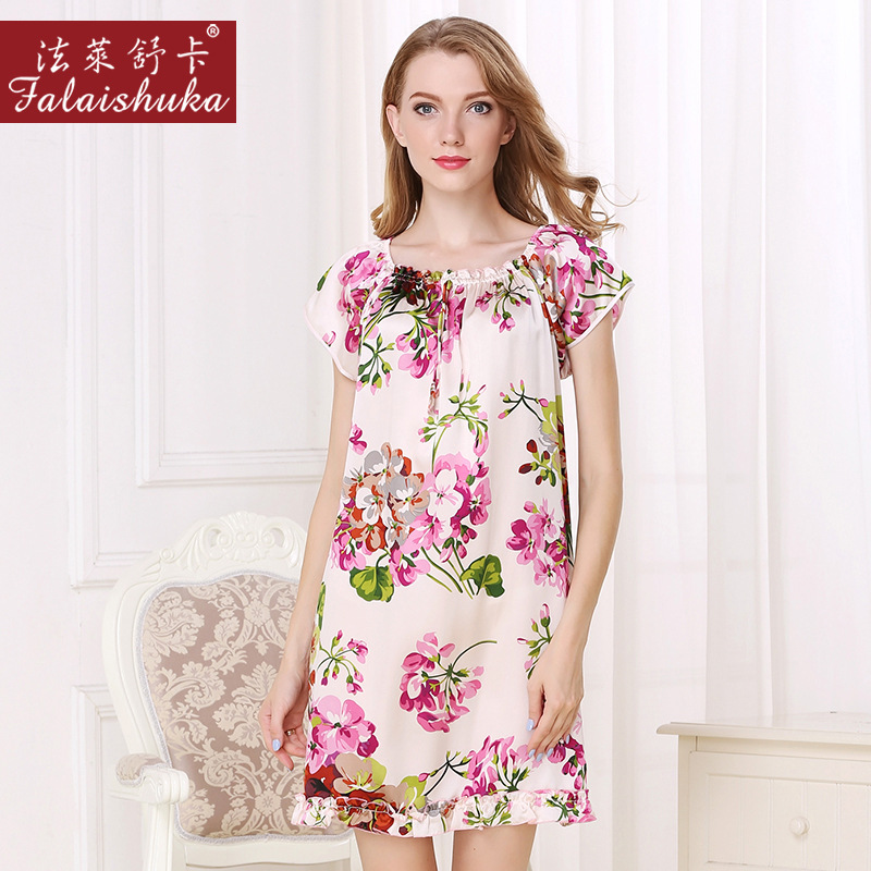 FLSK Brand Sexy Real Silk Women Nightgowns Fashion Elegant Printed Short-Sleeved Sleeping Dress NEW 100% Silk Nightdress S2509