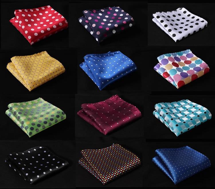 DE Polka Dot Silk Satin Pocket Square Hanky Jacquard Woven Classic Wedding Party Handkerchief