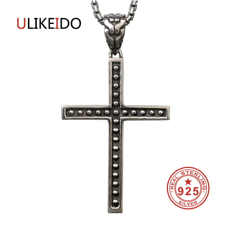 Pure 925 Sterling Silver Jewelry Cross Charms Punk Pendants for Men And Women Thai Silver Necklace Chain Fine Gift 1292Pure 925 Sterling Silver Jewelry Cross Charms Punk Pendants for Men And Women Thai Silver Necklace Chain Fine Gift 1292