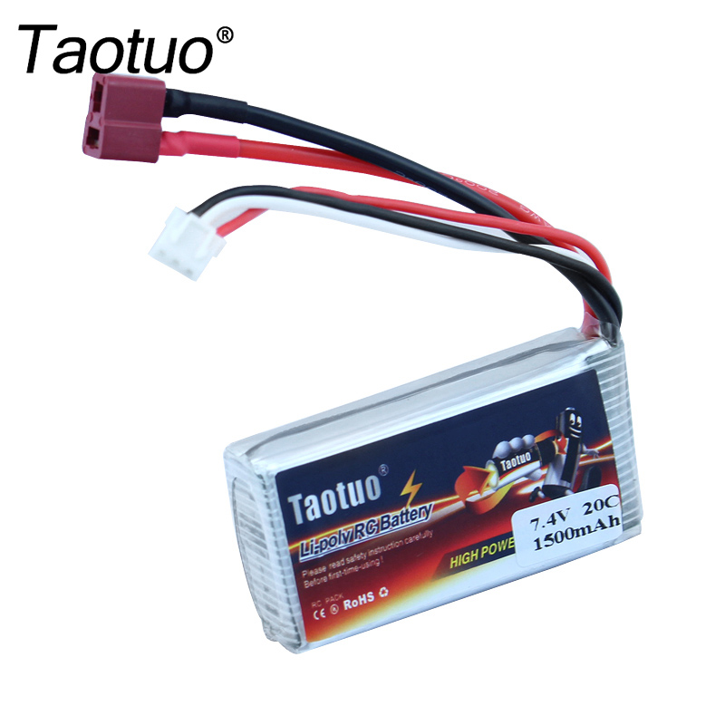 Taotuo Li-polymer Lipo Battery 7.4v 1500mah 20C T Plug For WLtoys V913 RC Helicopter Car L959/L969/L202/K959 Bateria wltoys l959 35 01 li po battery for l959