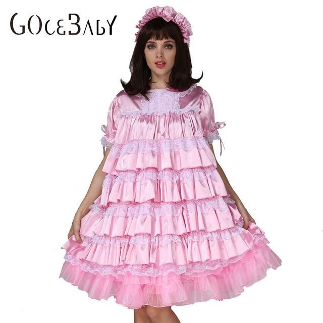 Adult Baby Sissy Girl Maid Satin Lockable Dress Costume Crossdress Cosplay  Costume