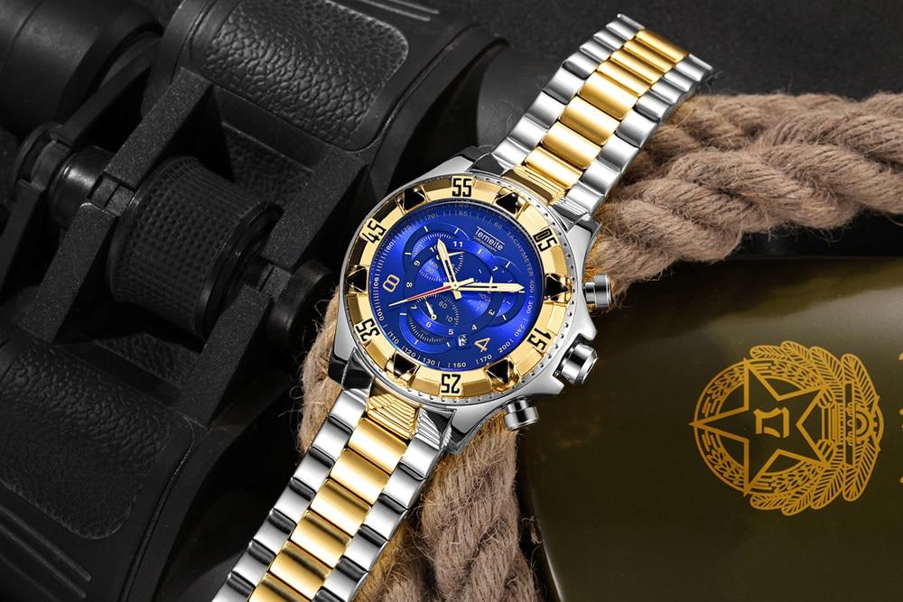 19 Top Brand Luxury Mens Oversize Watch Gold Business Steel Quartz Clock Waterproof Sport Military Chronograph Male Wristwatch 33