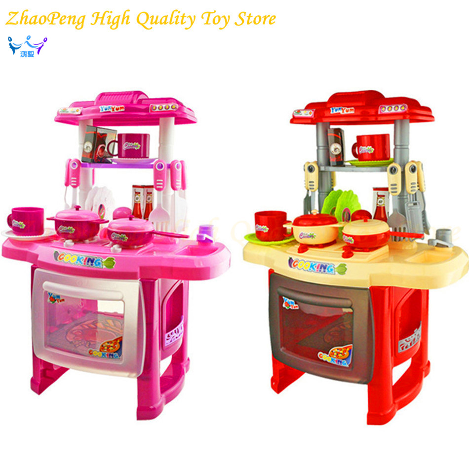 Children Kitchen Toys For Girls Cooking Toys Kids Pretend Play Toys With with Light Sound Effect Playing Toys