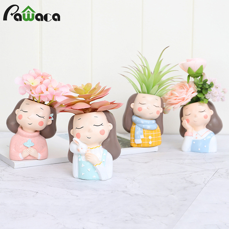 Ins Nordic Style Cartoon Girl Resin Plant Flower Pot Succulent Container Planter Bonsai Pot Flowerpot Desktop Craft Ornaments