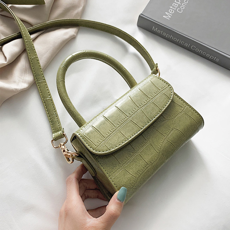 Crocodile Pattern Crossbody Bags For Women 2019 Small Chain Handbag Small Bag PU Leather Hand Bag Ladies Designer Evening Bags(China)