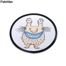 Patchfan Ahh real monster krumm applique patches diy iron on shoes jeans shirt clothes punk stickers embroideried badges A1954