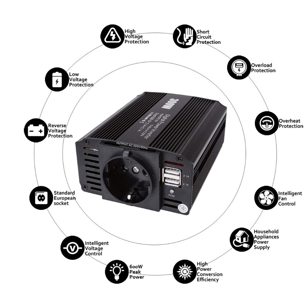 300 W Auto Inverter 12 v 220 v 110 v 60Hz 50Hz AC DC Konverter Auto Power Inverter 5 V 4.2A Dual USB Ladegerät EU UNS UK Stecker Auto Styling