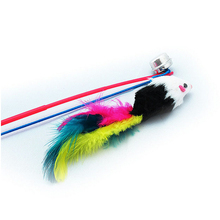 New 10pcs Pet for cat toys cute Feather and Floss Mouse Teaser Wand play track with cat Toy for Cats Products for cat