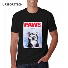 URSPORTTECH PAWS Mens Funny T Shirt Jaws Cat Fitness cotton tshirts homme Camiseta Shirt Graphic Tee Summer Print tops tees