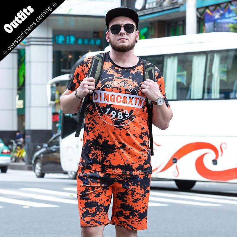 2018 À Séchage Rapide Respirant T-Shirt Shorts Ensembles de Costume Pour Hommes Occasionnels Hommes Polyester Survêtements 2 pc Plus La Taille 5xl 6xl