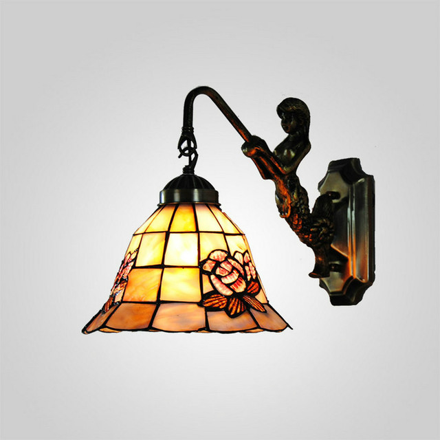 Mamei Free Shipping Bronze Finish 8 Inch Tiffany Vintage Outdoor Lights With Rose Shell Lamp Shade