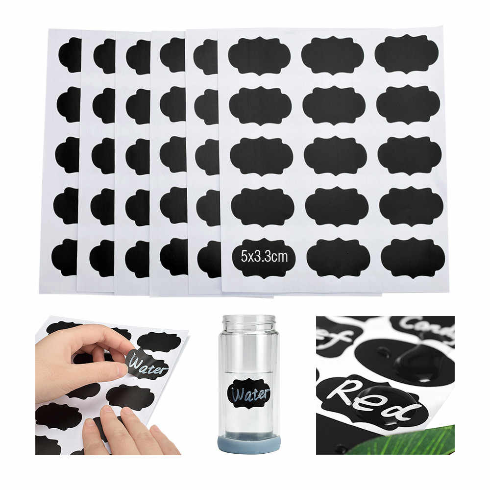 90 stks/set Schoolbord Sticker Craft Keuken Potten Organizer Herbruikbare Labels Stickers Krijtbord Sticker Black Board Muurstickers
