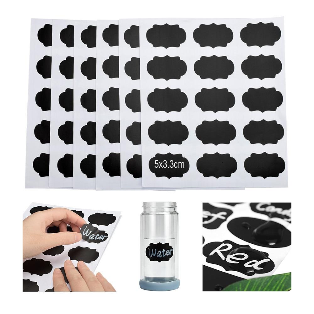 90 Pcs/set Blackboard Sticker Craft Kitchen Jars Organizer Reusable Labels Stickers Chalkboard Sticker Black Board Wall Stickers