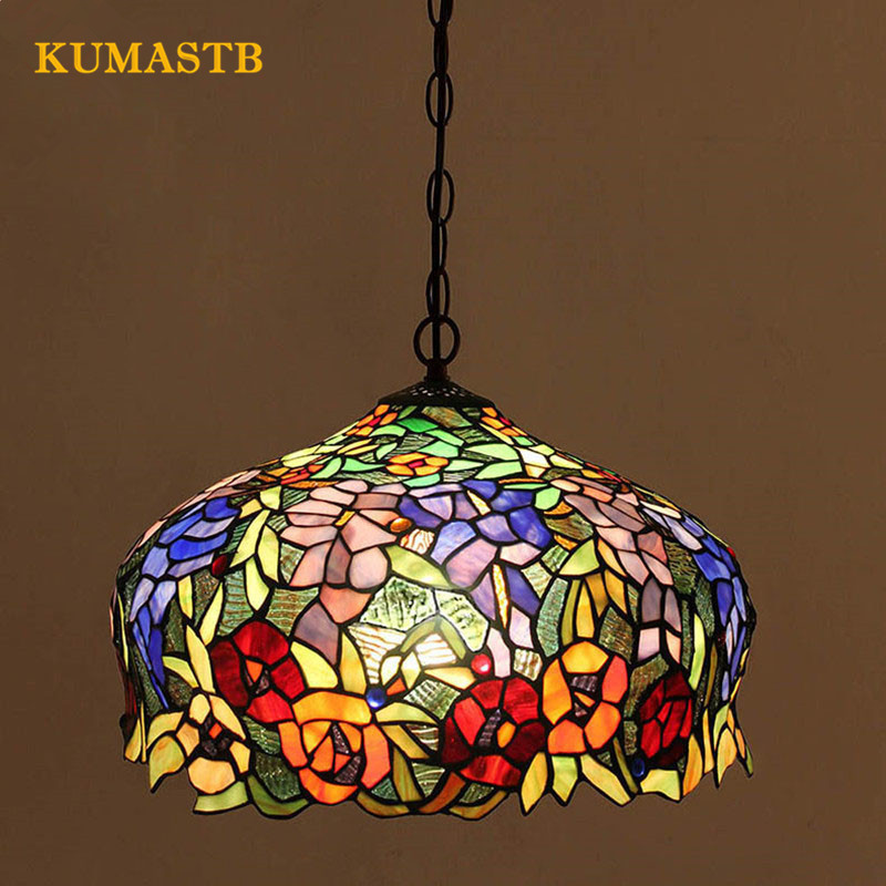 Dia40cm Stained Glass Light Fixtures Cafe Bedroom Living Room Lamp Dinning Room Vintage Art Colored Glass Pendant LightDia40cm Stained Glass Light Fixtures Cafe Bedroom Living Room Lamp Dinning Room Vintage Art Colored Glass Pendant Light
