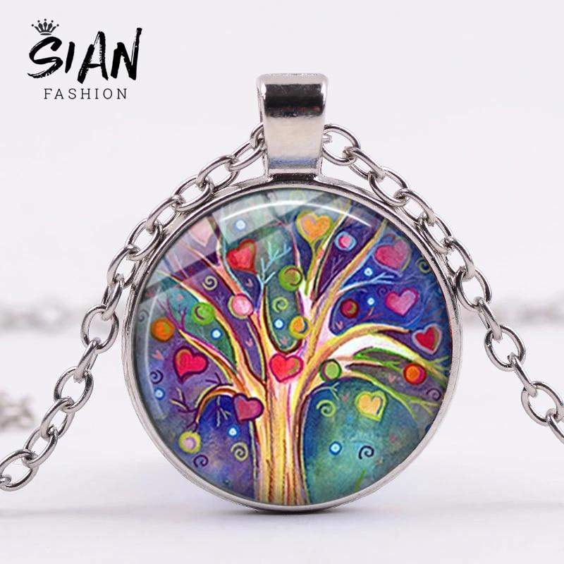 Glass Tree Art Tree of Life Pendant