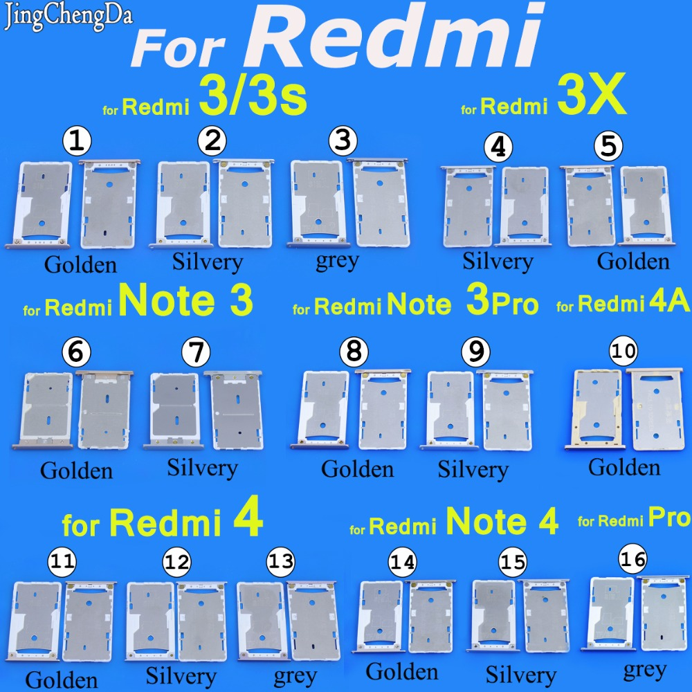 Sim Card Slot Tray For Xiaomi For Redmi 3/3s 3X SIM Tray Sim Card Holder Slot For Redmi Note 3 /Pro/4A Sim Card Slot