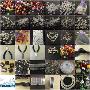 Large Jewellery Making Starter Kit 1000+ Beads Tools Findings Storage Box