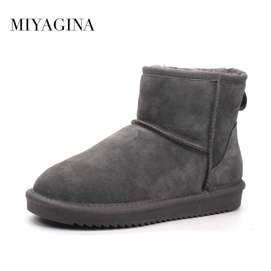 Top Quality New Women Genuine Cowhide Leather Snow Boots Winter Warm Classic Ankle Boots Women Fashion Shoes 2015 winter new arrival australia classic warm boots genuine leather handmade rhinestones diamond 3d flower women snow boots