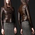 Mulheres curtas jaqueta de couro casaco Preto Borwn Botão Ruffles Projeto coréia do sexo feminino de pele de carneiro genuína roupas de couro Fino Casaco