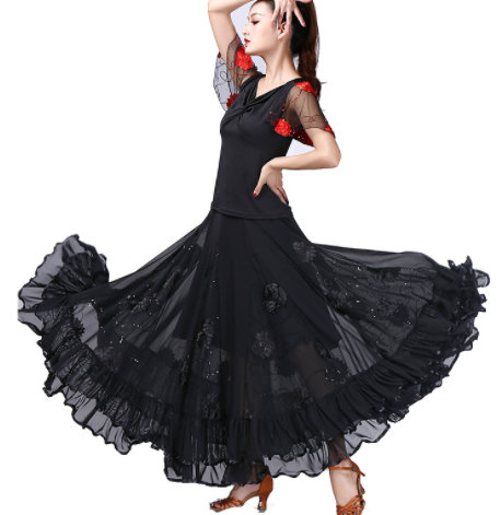 Ladies Long Swing Dance Skirt Costume Suit Women Belly Dance Ballroom Top Dress Outfits Spain Dancer