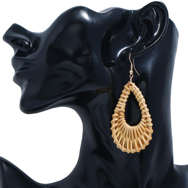 Bohemian Wicker Rattan Knit Pendant Earrings Handmade Wood Vine Weave Geometry Round Statement Long Earrings for Women Jewelry 25