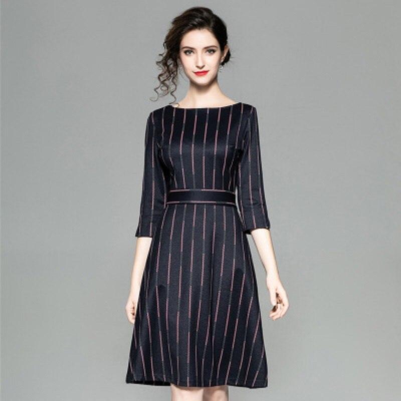 Lady Xl Rayé Mode O 2018 Solide Robes Vintage Noir Longueur Automne Nouveau Partie Bureau Genou Une Ligne Femmes Robe Vêtements cou 5qwEz1w