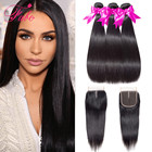 Fabc Hair Brazilian Straight Hair Bundles with Closure 3/4 Bundles Human Hair Weaves with Closure Remy Hair Extension