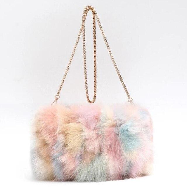 Модные дизайнерские натуральным лисьим мехом Для женщин сумка Новинка зимы Для женщин цепь сумка Роскошная меховая сумка большой леди клатч