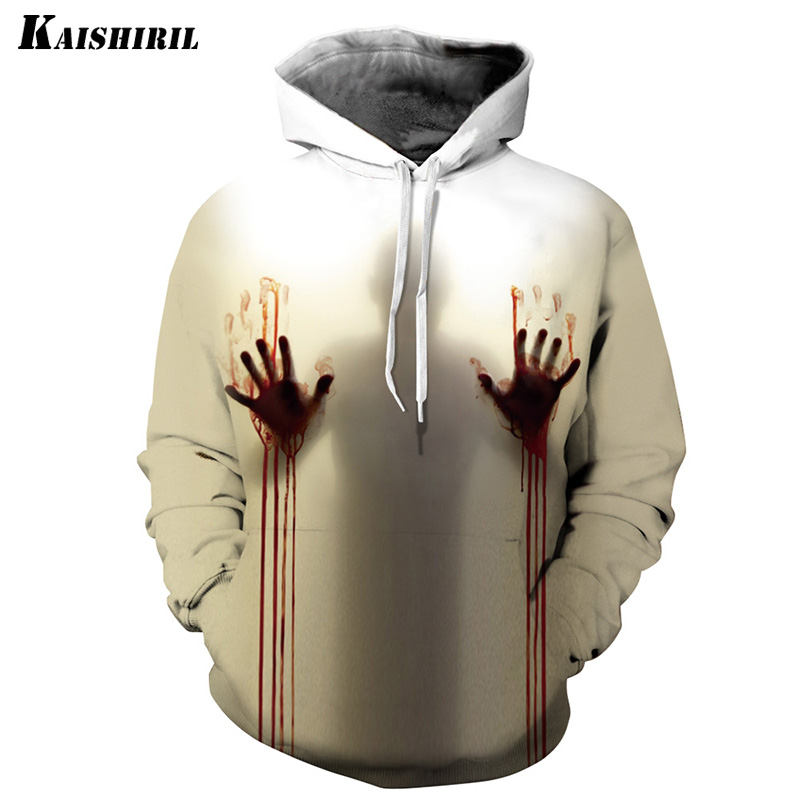 Halloween Hoodies Men 2018 3d Blood Handprint Streetwear Hip Hop Sweatshirt Off White Harajuku Mens Hoodie Couple Pullover Fashionable And Attractive Packages Men's Clothing