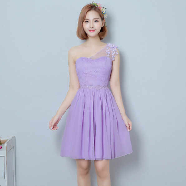 One Shoulder Lilac Fairy Style Elegant Corset Pretty Bridesmaid Bride Maid Party Chiffon Dresses For S Weddings H3465 In From