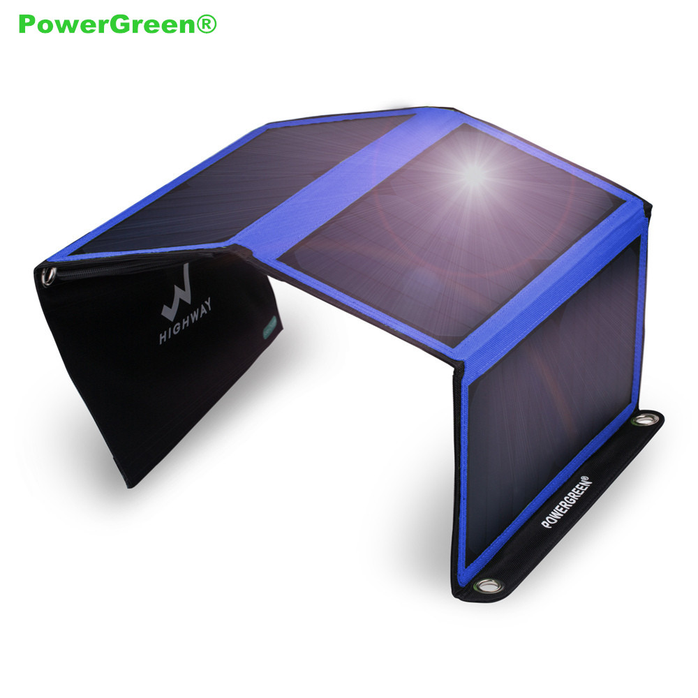 Double USB Solar Charger PowerGreen 21 Watts Foldable Solar Power Backpack Solar Cell Panel with Carabiner Design for Phone