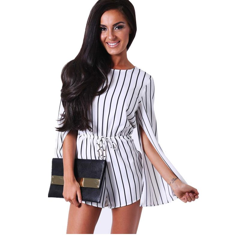 Casual Brief Short Overalls For Women With Slit Black and White Stripe Elegant Rompers Womens Jumpsuit Long Sleeve LC60798