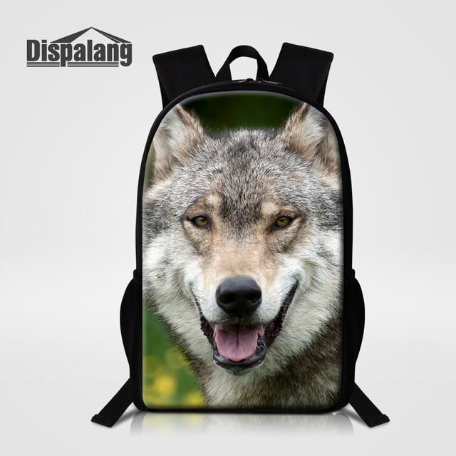 Dispalang Men Travel Shoulder Bags Zoo Animal Wolf Printing School Backpack For High School Students Mochilas Masculina Rucksack