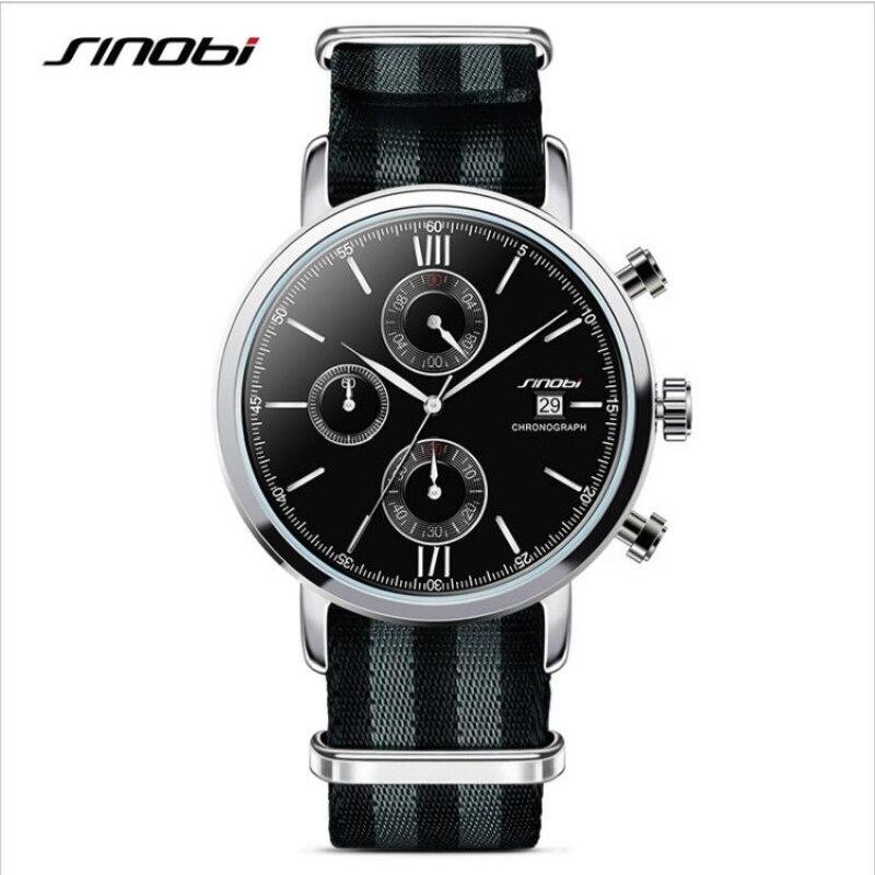 SINOBI James Bond 007 Watch Men Watch Nylon Strap Chronograph Watches Men's Watch Clock reloj hombre relogio masculiono montre