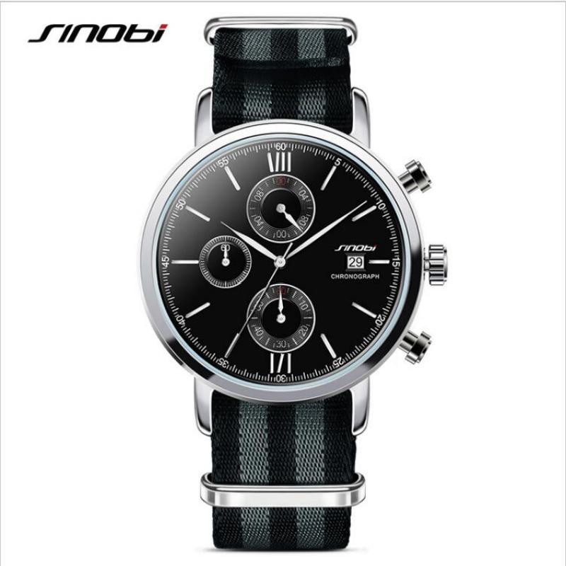 SINOBI James Bond 007 Watch Men Watch Nylon Strap Chronograph Watches Men's Watch Clock kol saati erkek kol saati reloj hombre james bond  nobody lives for ever