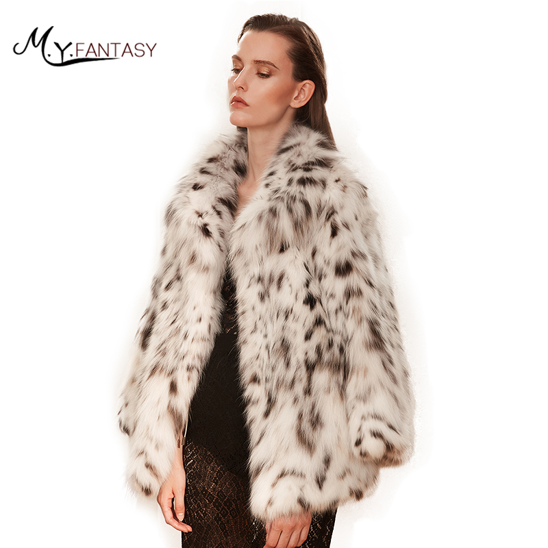M. Y. Fansty 2017 Zeldzame Witte Wilde Noord-amerikaanse Lynx Hoge Luxe Mode Bobcats Bontjassen Real Natuurlijke Bont Turn-down Kraag Jas