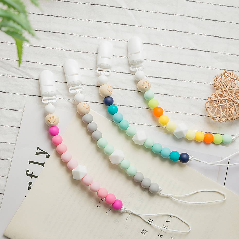 Food Grade Wooden Teether Dummy Clip Chain 1PC Crib Toy Newborn Gift Silicone Beads Baby Silicone Teether Chew Beads BPA Fre