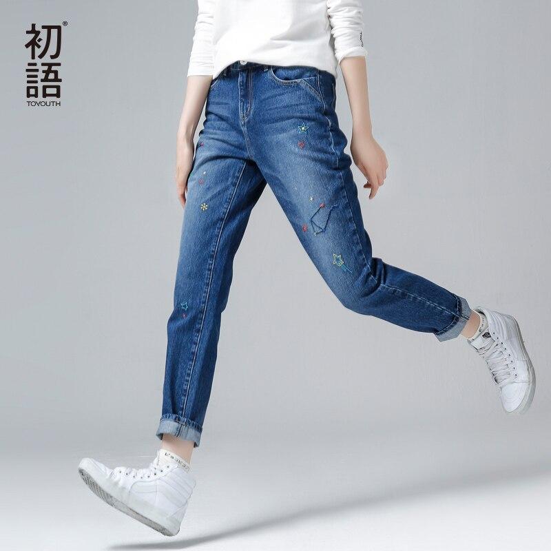 Toyouth узкие джинсы для женщин 2018 Осень Зима Джинсовые штаны модные джинсы с вышивкой длинные мотобрюки корейский стиль