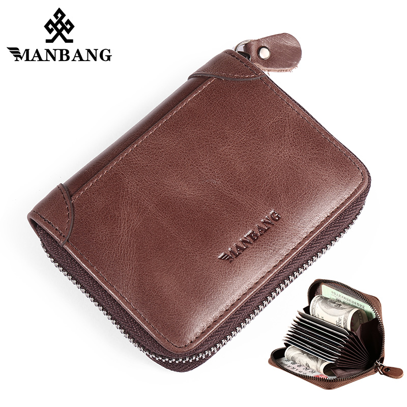 ManBang 2019 New Genuine Leather Men card wallet Credit Card Holder with RFID Blocking Small Accordion Wallet Hight quality wallet