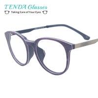 Для женщин круглые очки Винтаж ацетат металлические очки для рецепта Оптические стёкла