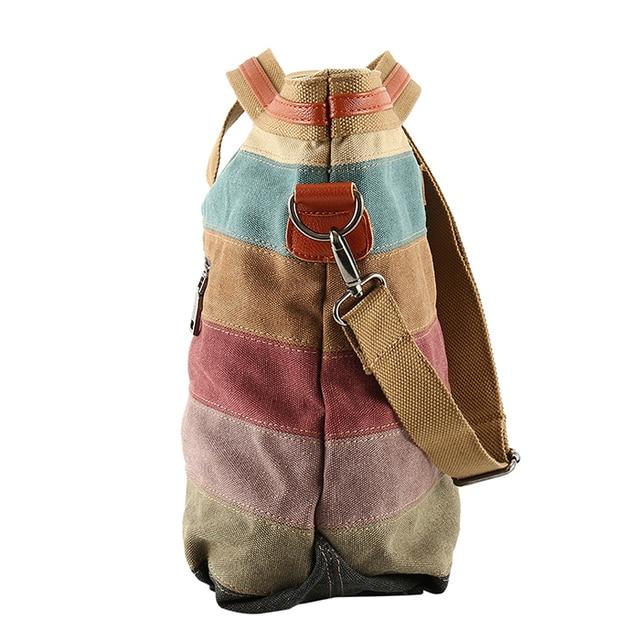 Colorful Women Canvas Shoulder Bag Large Satchel Handbags Las Patchwork Crossbody Messenger Casual Tote