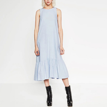 Women Summer Sleeveless Denim Dress Vestidos Casual Loose Large Size Long Dress Flouncing Cocktail Wear XB63001