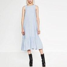 Frauen Sommer Sleeveless Denim Kleid Vestidos Beiläufigen Losen Großen Größe Langes Kleid Flouncing Cocktail Tragen XB63001