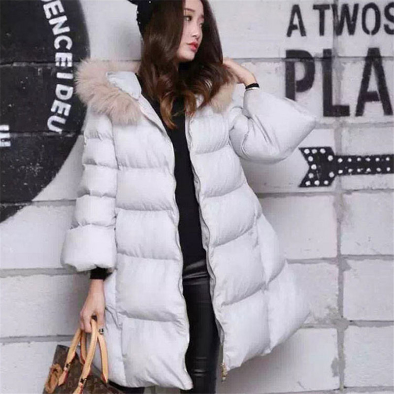 Coat&Jacket Winter Women Down Fur Collar Hooded A-line Loose Thick Padded Cotton Jacket Female Warm Large Size Parka TT158 kuyomens 2017 women winter jacket coat cotton hooded thick warm loose women basic coats bomber jacket female autumn women coat