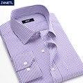 Los hombres camisa masculina camisa de rayas largo slevee marca-clothing casual shirts hombres plaid camisas del mens slim fit de algodón y poliéster