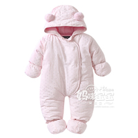 2017 Autumn Winter Newborn Thickening Cotton Romper Girls Clothing Long Sleeve Jumpsuit With A Hood Cotton