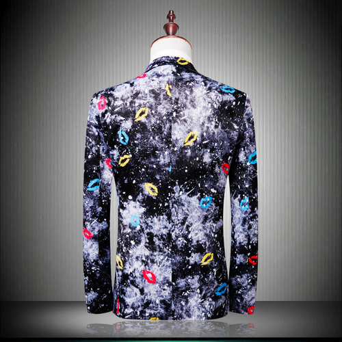 Britannique Casual As Blazer Imprimé Bouche Style Unique Slim Mâle Fit Show Blazers Luxe Masculino Mode De Hommes Poitrine Fleur tTvqw7t